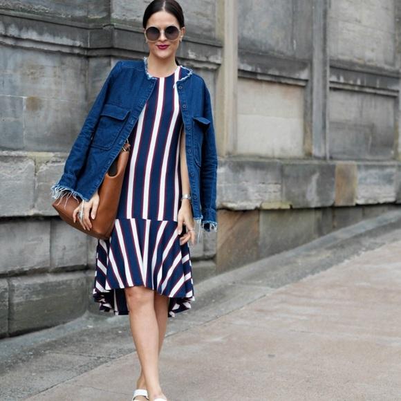 5a42b229 NWOT Zara Asymmetric Stripe Midi Dress With Frill.  M_5a8ced1fa4c485b9fd4f2f9b